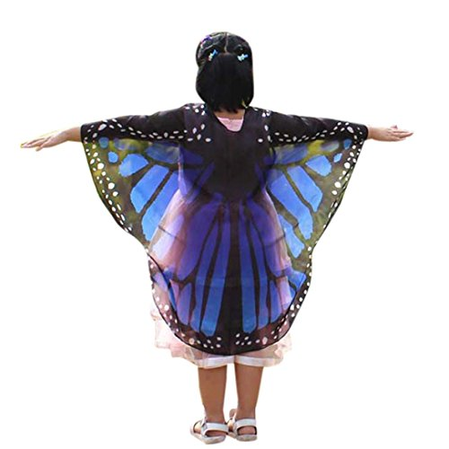 BakeLIN Schal 140*100cm Schmetterlings Flügel Schal Shobdw Kinder Jungen Mädchen Pixie Halloween Cosplay Fasching Kostüm Zusatz (140*100cm, Dunkelblau)
