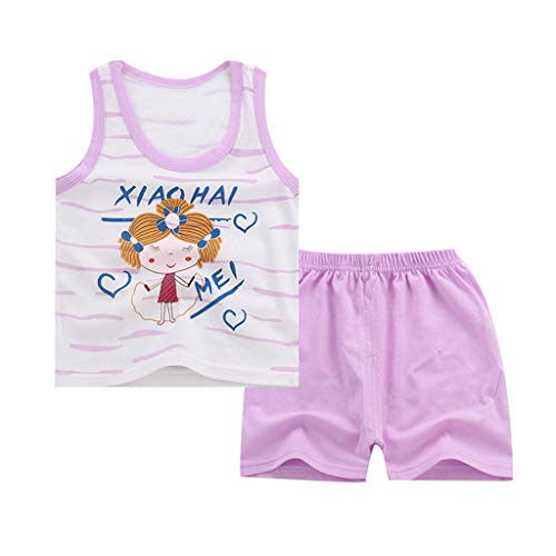 Yanhoo-Kinder Jungen Mädchen Unisex KinderKleidung, Ärmelloses Cartoon Trainingsanzug Sportanzug Weste Hosen Kleidung Anzug Kinder ärmellose Shorts 2 ()