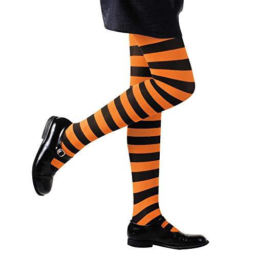 Widmann - gestreifte Stumpfhose für (Orange Kind Kostüm)