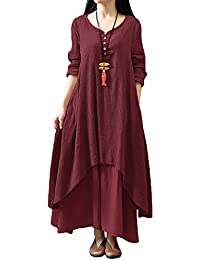 Romacci Women Boho Dress Casual Irregular Maxi Dresses Vintage Loose Long Sleeve Cotton Viscose Dress,S-5XL