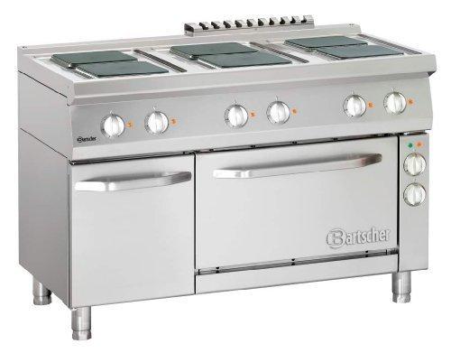 Bartscher Elektroherd 700 - Breite 1200 - 6PL - mit Elektrobackofen und quadratischen Kochplatten