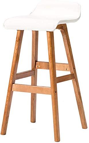 QSHG Stühle Moderner Elegantes Design Massivholz-Unterstützung Schöner Art und Weise weiße Pu Sitz Einzigartiger Nail Shop Holz (Bugholz) Geschenk (Color : A) -