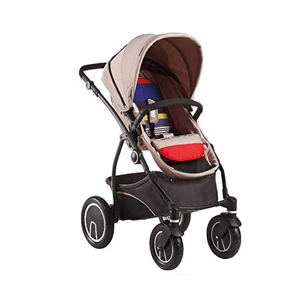 Comfortable Prams Baby Stroller High Landscape with Reversible Bassinet Compact Buggy Suitable for Children 0-3 Years Old, 90x115cm (Color : Brown) CAR - Quick folding system. The folding stroller weighs about 11KG and is light! - Five-point seat belts protect your baby at all times, and parents don't have to worry about your baby slipping out of the stroller. Waterproof, fireproof, foldable to compact size, space saving, 360° rotating double front rubber wheel, sturdy rubber wheel, 5-point seat belt, safety bar, one-touch foot brake 1