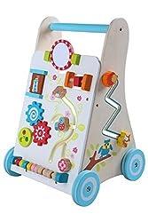 LEOMARK Lauflernhilfe Lauflernwagen Holz Mit Motorikspielen Lernwagen Motorik Spiel und Laufwagen Lernspielzeug Lauflern Kreativ Kleinkind Baby Farbig Aquamarin Blau