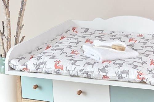 Preisvergleich Produktbild KraftKids Wickelauflage kleine Rehkitze grau orange auf Weiß breit 60 x tief 70 cm passend für z. B. Waschmaschine