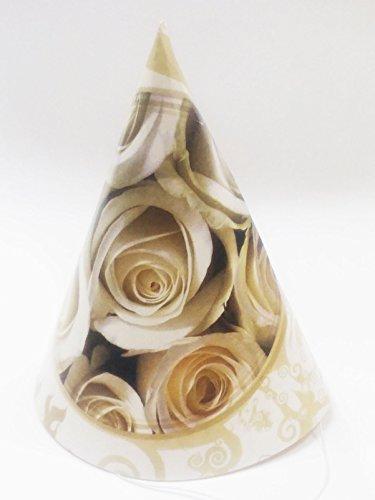 takestop® Set 18Stück Hut Hüte von Papier Kegel Party Rose weiß Cap Einweg Hochzeit Wedding Versprechen Geburtstag Jahrestag (Weiß Kegel-party-hüte)