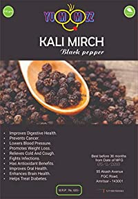 Yummzz Black Pepper/Black Peppercorn (Kali Mirch), (Pack of 2-100g Each)