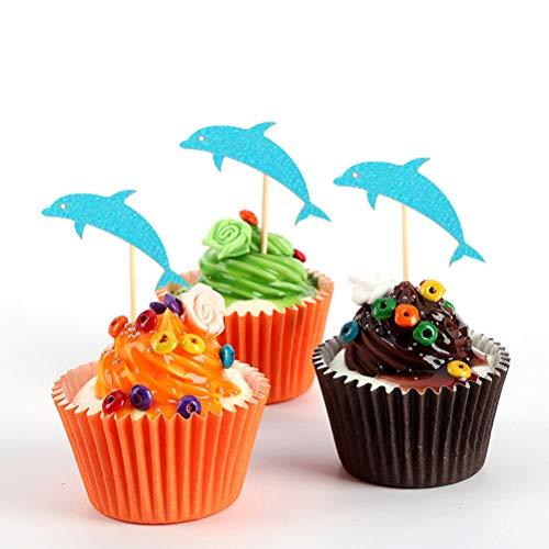 Amosfun 24 Papier-Kuchenaufsätze für Geburtstagskuchen, Cupcake-Dekorationen, Delfin-Form, Blau Delfin-form