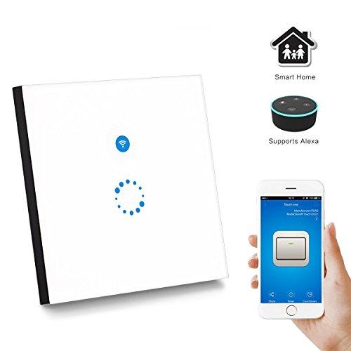 Licht-timer Wandschalter (Sonoff Touch Lichtschalter Funktioniert mit Amazon Alexa [Echo, Echo Dot] und Google Home Wireless Lichtschalter Glas Touchscreen Lichtschalter LED Licht Wandschalter Touch Panel Schalter - Weiß)