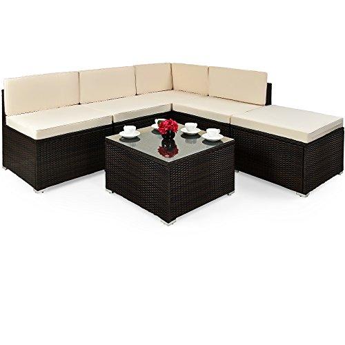 Deuba XXL Poly Rattan Lounge Set Braun I 7cm Dicke Auflagen I Tisch Sicherheitsglas I Sitzgruppe Gartenmöbel Garten Set