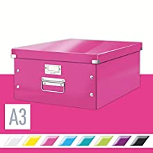 Leitz A3 Storage Box, Click and Store Range 60450023 - Large, Pink