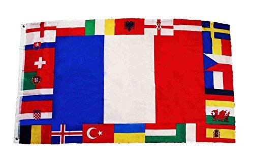 HAAC Fahne Flagge mit 24 Teilnehmer Länder 150 cm x 90 cm Fußball EM 2016