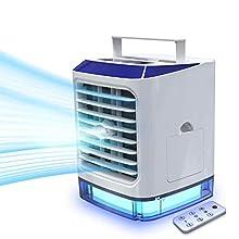 Einzige echte autorisierte Verkäufer 【Vhool-EU】Mobile Klimaanlage mit Fernbedienung LAZCOZY Mini Luftkühler Ventilator Luftbefeuchter mit Verdunstungskühlung Air Cooler mit 3 Stufen & 7 lichtern