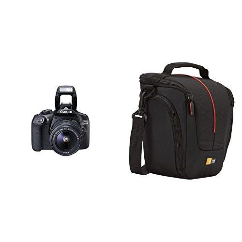 """Canon EOS 1300D - Cámara réflex de 18 Mp (pantalla de 3"""", Full HD, 18-55 mm, f/3.5-5.6, NFC, WiFi), color negro - Kit con objetivo EF-S 18-55 mm DC III (versión europea) + Case Logic DCB306K SLR - Funda para cámara (nilón), negro"""