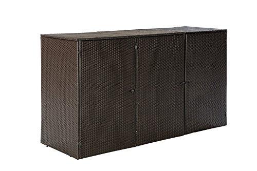 Mülltonnenbox für 3x Tonnen bis 120 Liter, 189x66x109cm, Stahl + Polyrattan Geflecht braun - 3
