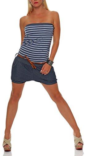 malito breve Jumpsuit nella marino Disegno Catsuit Playsuit Romper Abito Lungo 9646 Donna Taglia Unica (blu)
