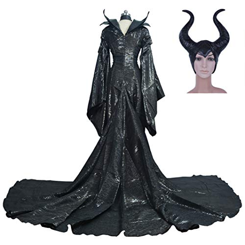 Kostüm Von Maleficent' - DuHLi Film Maleficent Black Hexe Angelina Jolie Prinzessin Maleficent Cosplay Kostüm Canraval Halloween Kostüm Maleficent Horn,M