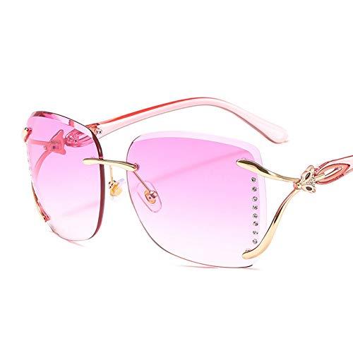 Taiyangcheng Polarisierte Sonnenbrille Quadratische übergroße Sonnenbrille Frauen mit Farbverlauf Sonnenbrille Lady Vintage Shades Randlose Oculos,rosa Beine lila (Frauen Sonnenbrille Ray Ban Pink)