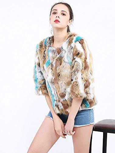 Kaninchen Pelz Schwarz Mantel (XIAOKEAI Frauen Mantel Farbe Kunstpelz Kaninchen Pelz Jacke Oberbekleidung, Blue, S)