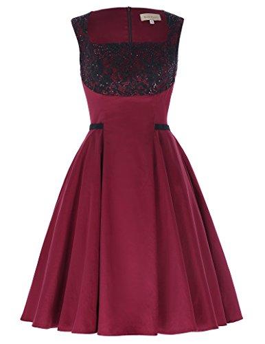 women-fit-to-flare-dresses-spring-knee-length-red-black-kk1021-1-red-xl