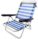 MENTA LIMON Silla Plegable de Playa de Aluminio, BaJO, 4 Posiciones y Asas para el Transporte, Tejido textiline Transpirable en Color De ralla Azul y Blanco 1 Unidad