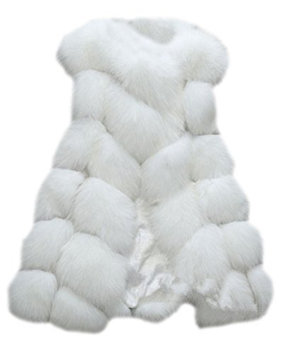 Donne Gilet di Pelliccia Sintetica Senza Maniche Giacche Cappotti Outwear Bianco