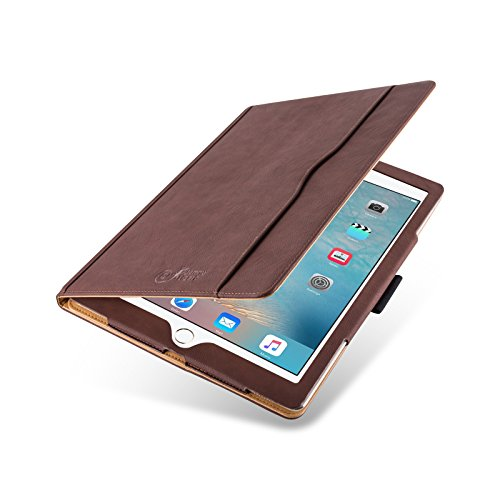 Flip cover ipad pro 12.9, jammylizard custodia smart case in pelle per ipad pro 12.9 pollici (2015), sabbia e marrone