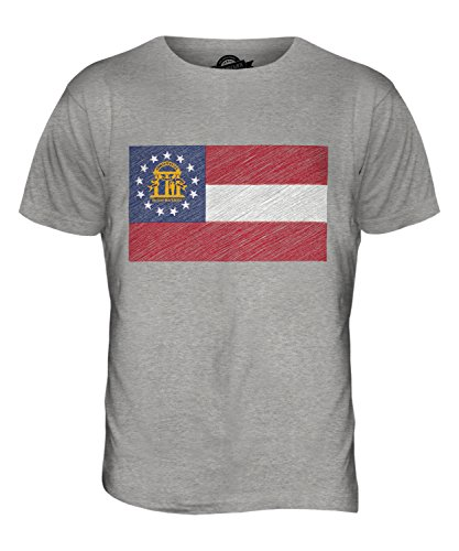 CandyMix Bundesstaat Georgia Kritzelte Flagge Herren T Shirt Grau Meliert
