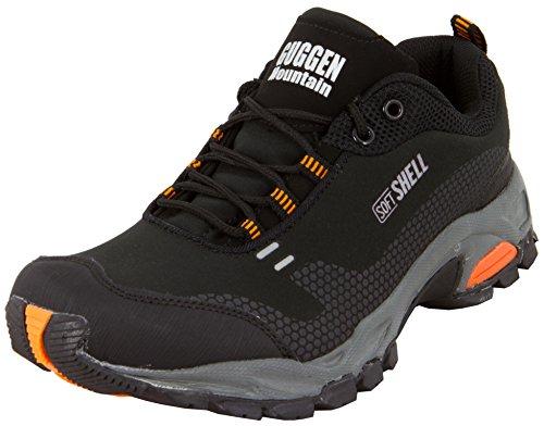 GUGGEN Mountain Herren Trekkingschuhe Wanderschuhe Walkingschuhe Outdoorschuhe mit der Neuesten Softshell Technologie Model T001 Softshell, Farbe Schwarz-Orange, EU 45