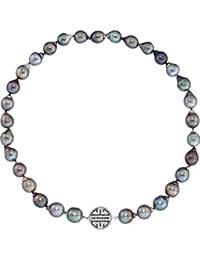 CHRIST Pearls Damen-Kette 925er Silber Tahiti-Perle 106 Zirkonia One Size, anthrazit