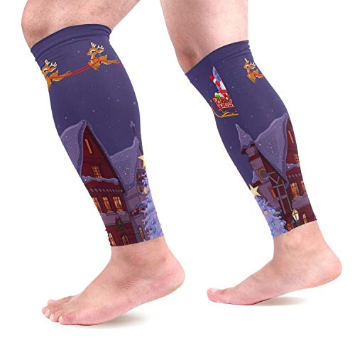 IMERIOi Santa's Sled Calf Compression Sleeves,Leg Performance Support for Shin Splint Calf Pain Relief Men & Women Guards Sleeves for Running Cycling 1 Pair (Men's Pair Mädchen Kostüm)