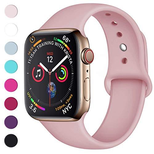 Lerobo Sport Correa para Apple Watch Correa 38mm 42mm 40mm 44mm, Pulsera de Repuesto de Silicona Suave Correa para Apple Watch Series 4, Series 3, Series 2, Series 1, 42mm/44mm S/M Rosa