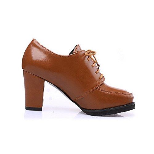 AllhqFashion Femme Fermeture D'Orteil à Talon Haut Rond Zip Pu Cuir Couleur Unie Chaussures Légeres Brun
