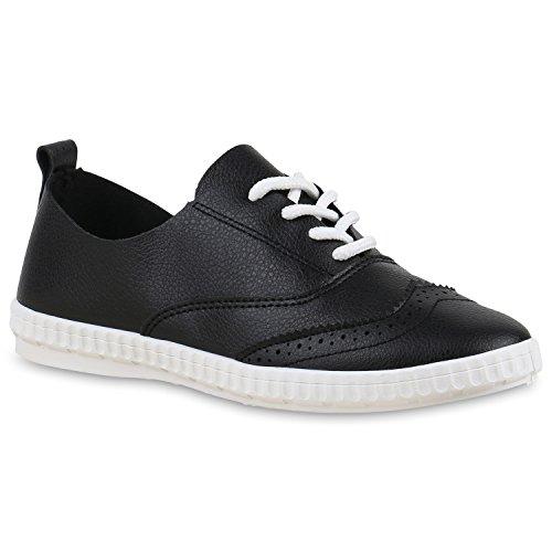 Damen Sneakers Schnürer Basic Sportschuhe Lederoptik Schuhe Schwarz