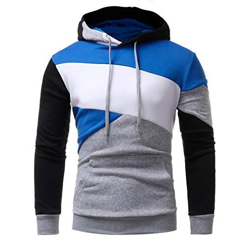 IMJONO Herren Sweatshirt Langarm Patchwork Hoodie Kapuzenoberteile Jacke Mantel Outwear(EU-44/CN-M,Grau)