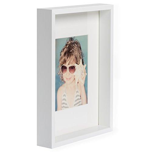 21 x 30 cm Box Bilderrahmen mit Passepartout 13 x 18 cm, Weiß