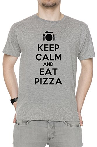 keep-calm-and-eat-pizza-gris-algodon-hombre-camiseta-manga-corta-cuello-redondo-mangas-grey-mens-t-s