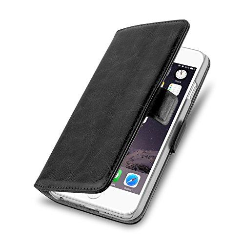 iPhone 4 Hülle, JAMMYLIZARD Luxuriöse Flip Cover Ledertasche mit Kartenfach für iPhone 4 & 4s, SCHWARZ SCHWARZ
