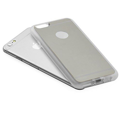 iProtect Qi-kompatible induktive TPU Schutzhülle Apple iPhone 6 Wireless Charging Hard Case in gold und transparent silber Hülle+Ladestation