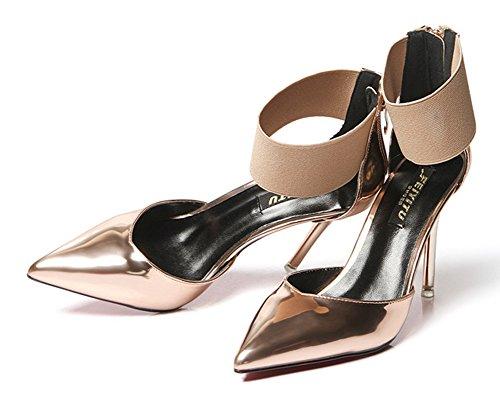 Aisun Damen Lack Kunstleder Spitz Zehen Stiletto High Heels Knöchelriemchen Sandale Mit Reißverschluss Champagner