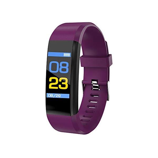 115plus Fitness Tracker Pulsera inteligente Pantalla a color Bluetooth Reloj deportivo Monitor de frecuencia cardíaca / presión arterial Podómetro Paso Contador de calorías Púrpura AC1423. Accesorios 3