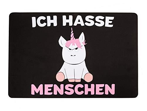EBENBLATT Ich Hasse Menschen Einhorn Fußmatte Fußabtreter Größe 60 x 40cm Türmatte Indoor &...