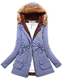 TOOGOO(R) Women Hooded Fur Winter Thick Padded Long Coat Outerwear Jacket-Light Blue-XL