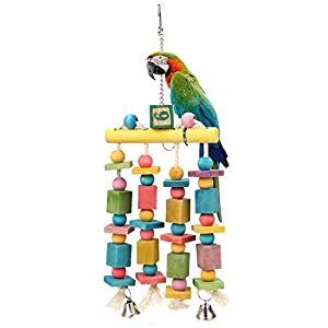 ZZM Pet Parrot Jouet Support Multicolore Perle en Bois Debout bâton à Suspendre Bell Swing Jouet Perruche Cage Hamac Oiseaux Jouet d'entraînement avec Crochet en métal pour Perroquet et Accessoires