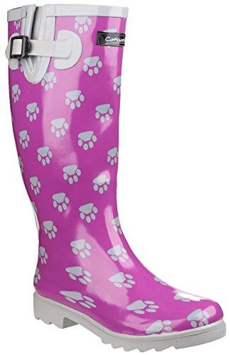 Cotswold Damen Regenstiefel Gummistiefel Wasserdicht Stiefel Hundepfoten Muster Lila & Silber 40