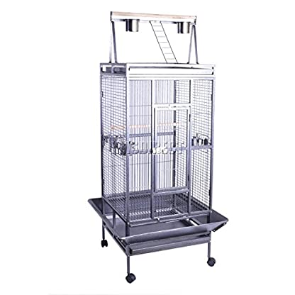 FoxHunter Large Metal Bird Cage Stand For Parrot Macaw Budgie Canary Finch Cockatiel Aviary Lovebird Parakeet With Wheel… 1