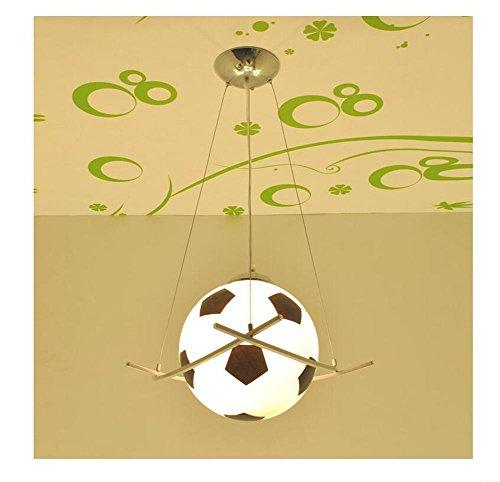 BJVB Telecomando Calcio LED Luci ragazzi di calcio femminile bambini lampadario camera da letto lampade (Acciaio Per Scale Ferroviaria)