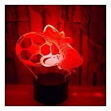 Night Lights 3D Football Shoes Colorful Christmas Decoration Gifts Small Table Lamps. Remote Control Switch