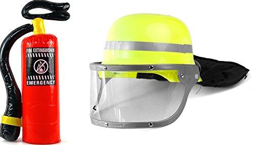 Preisvergleich Produktbild Feuerlöscher Set mit Feuerwehrhelm für Feuerwehrkostüm Verkleidung Helm Feuerwehr
