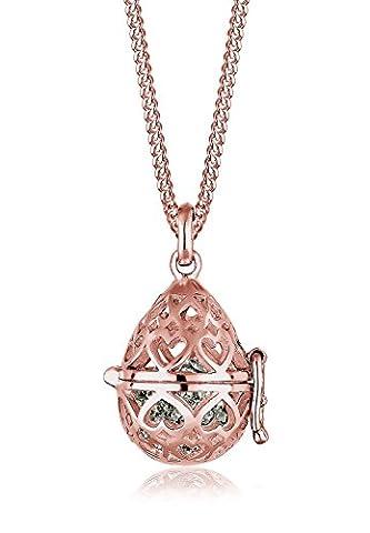 Elli Premium Damen-Kette mit Anhänger Herz Liebe Amulett 925 Silber rosé Swarovski Kristall Brillantschliff 45 cm - 0103142316_45